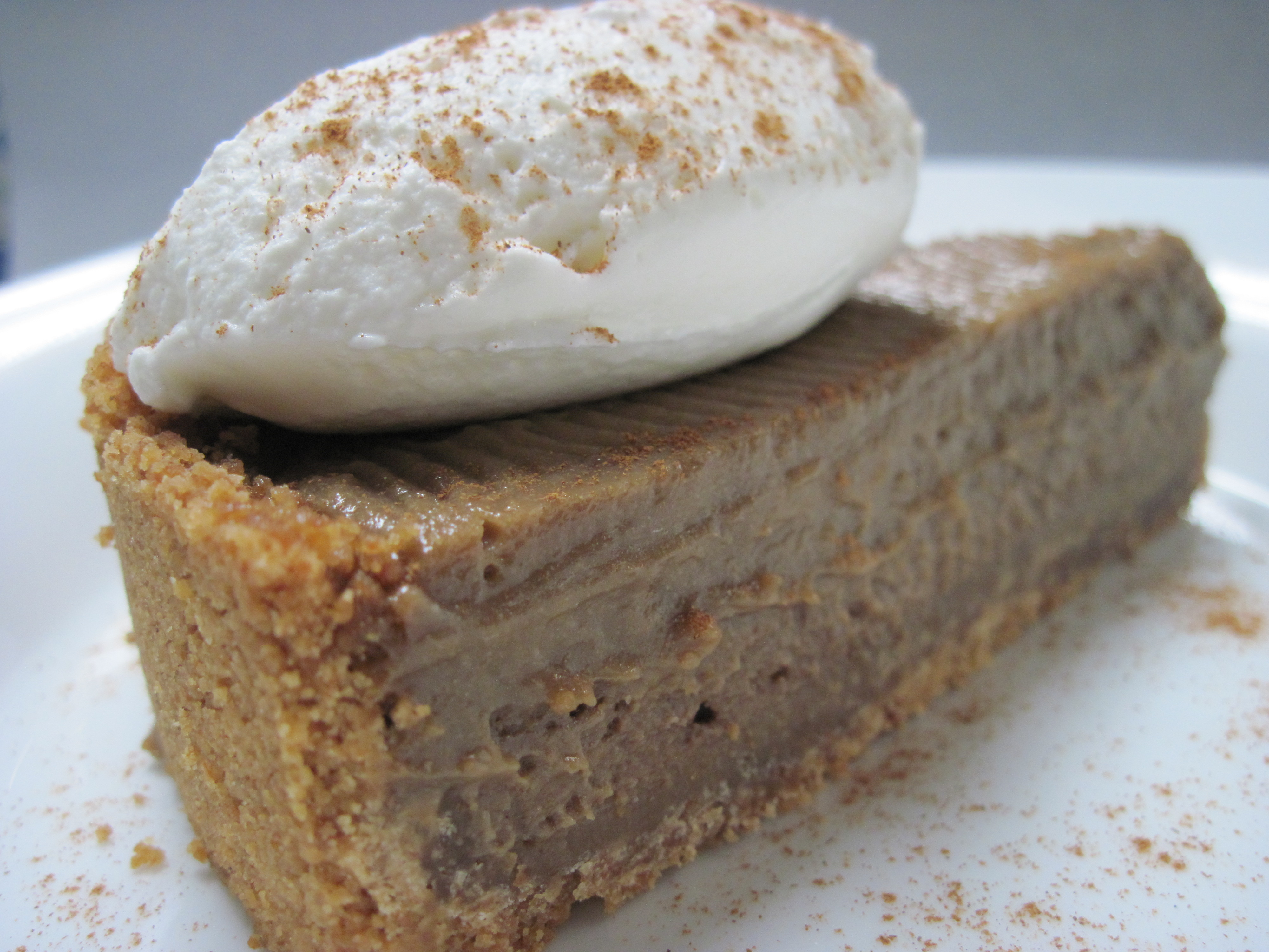 chocolate pumpkin butterscotch pie in a ginger crust