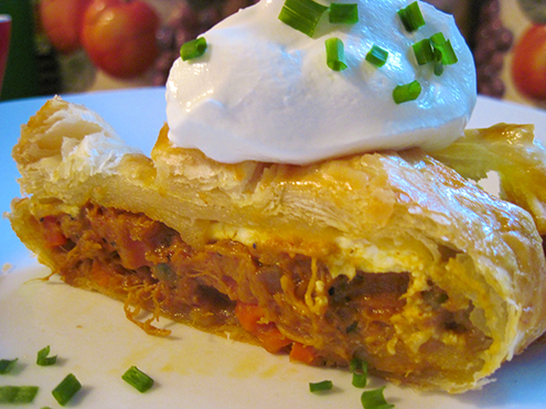pulled chicken and veggies in puff pastry
